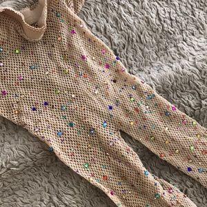 Accessories - Rainbow rhinestone rave festival fishnet tights